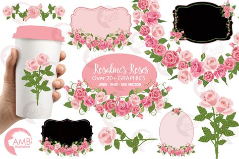 Clipart Wedding Embellishments by Pink Roses Wedding Clipart Bridal Shower Frames And