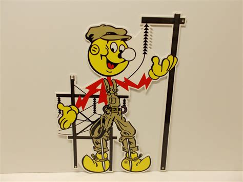 Reddy Kilowatt L by Reddy Kilowatt Power Light Bulb Electric Quot Lineman Quot Sign Electrician Gift Ebay