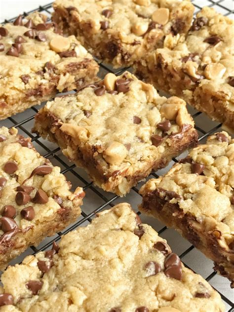 Peanut Butter Chocolate Chip Bars oatmeal chocolate chip peanut butter bars together as family