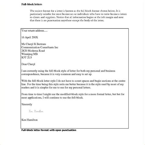 Block Cover Letter by Block Cover Letter Format