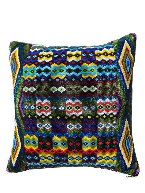 beaded pillow geo multi green imperio jp