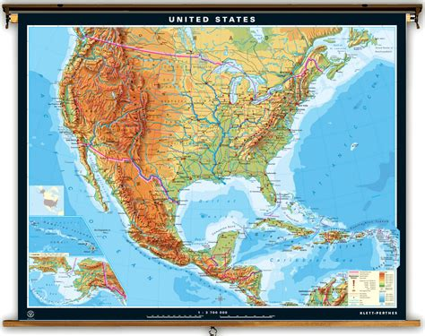 physical map of the us klett perthes large united states and mexico map 77