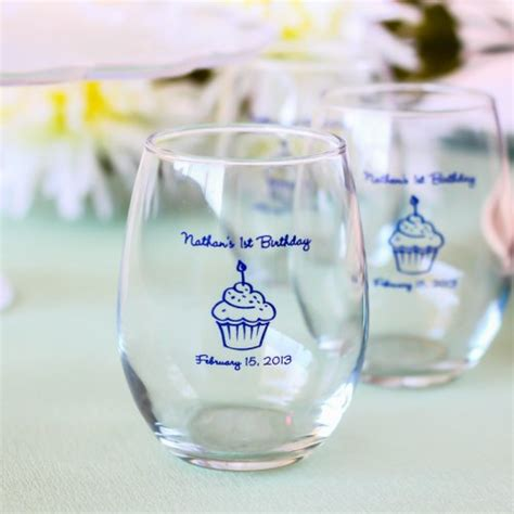 Unique Giveaways For 1st Birthday - personalized 9 oz birthday stemless wine glass
