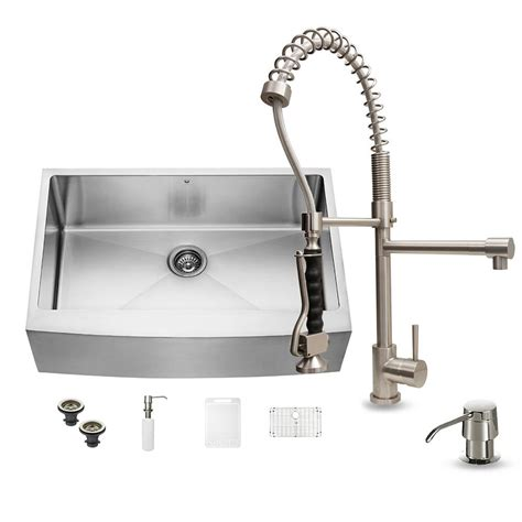 farmhouse kitchen faucets vigo all in one farmhouse apron front 33 in 0 hole single