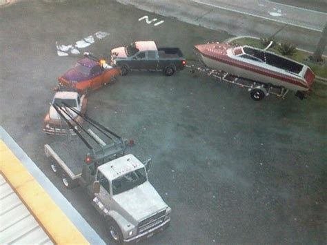 gta 5 big boat big tow truck towing smaller tow truck towing another