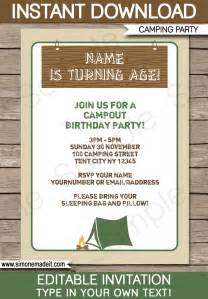 camping party invitations template birthday party