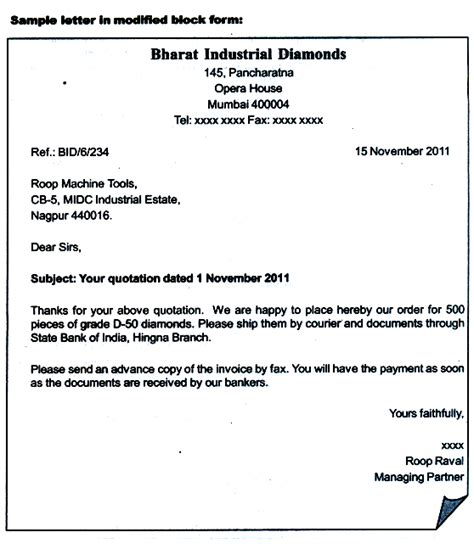 Modified Block Format Of Business Letter modified semi block letter style word 2007 cover letter