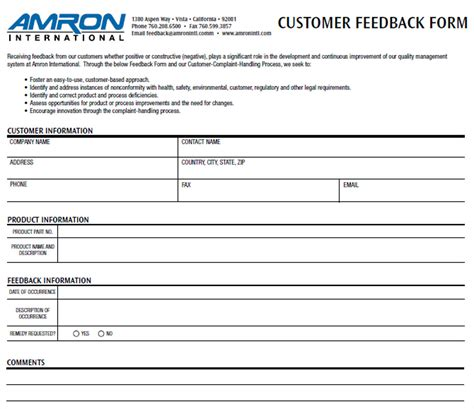 customer feedback forms exles 12 business feedback form templates