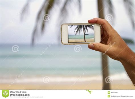 phone photography mobile cell phone screen photography of a beach stock