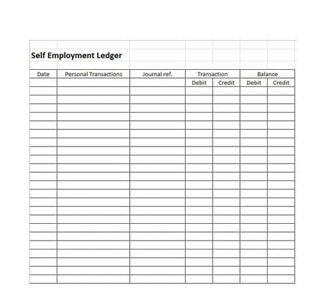 self employed receipt template self employment ledger template best template idea
