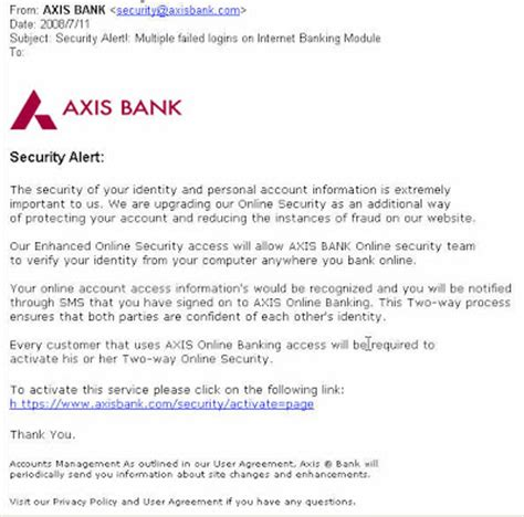 axis bank net banking login page axis bank security alert failed logins on