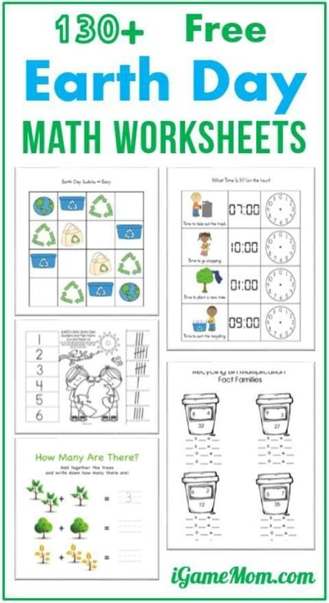 130 free earth day math printable worksheets for 1