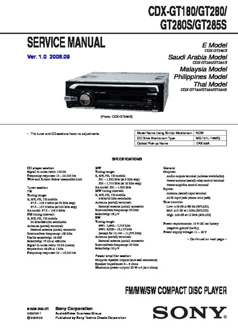sony cdx gt280 wiring diagram 29 wiring diagram images