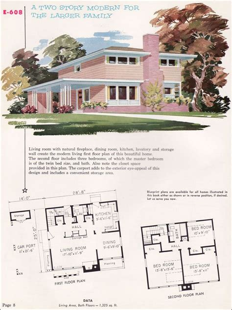 mid century home plans mid century modern house plans 1955 national plan