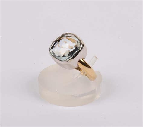 anello tipo pomellato anello con topazio azzurro taglio briolette tipo