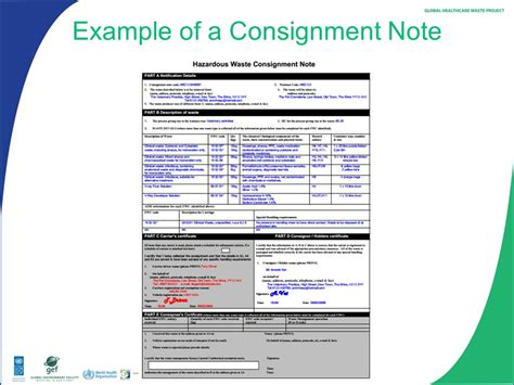 waste consignment note template module 14 site transport and storage of healthcare waste ppt