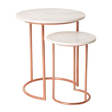 Copper Side Table White Muse Marble Copper Nesting Tables Oliver Bonas