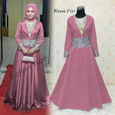 Gamis Pesta Warna Silver baju gamis pesta bordir balotelli alisyah pink model