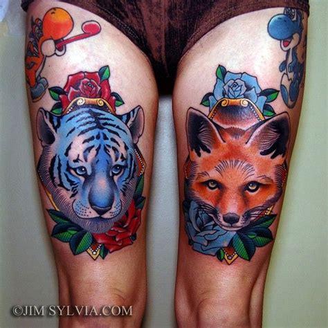 tattoo old school fox jiim sylvia traditional tiger and fox tattoo tattoos