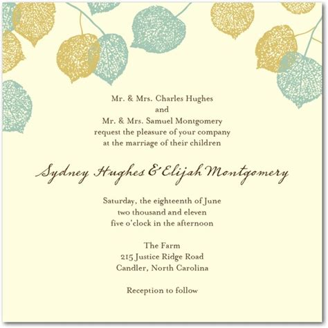 Leaf Themed Wedding Invitations by Nature Wedding Invitation Sles Wedding Invitation Stores