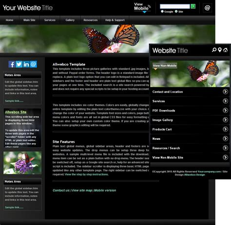 mobile themes black color black chrome butterfly website template sle mobile