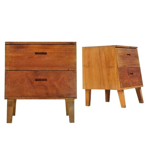 Handmade Nightstand - handmade solid teak slant faced nightstands at 1stdibs