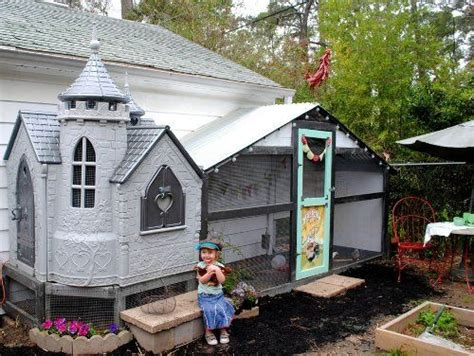hen house ad castle hen house repurposed child s castle and a nice size chicken run great idea
