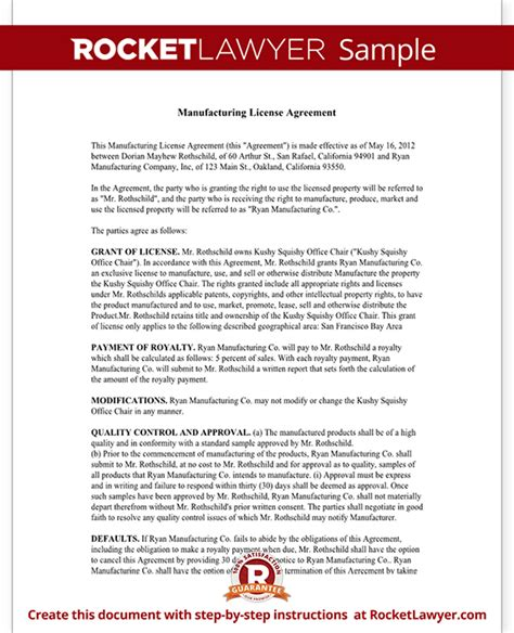 manufacturing agreement template manufacturing license agreement template rocket lawyer