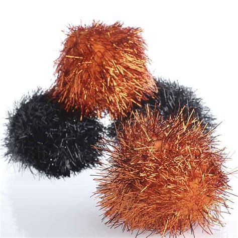 Large Pom Pom large orange and black tinsel craft pom poms craft pom poms crafts craft supplies
