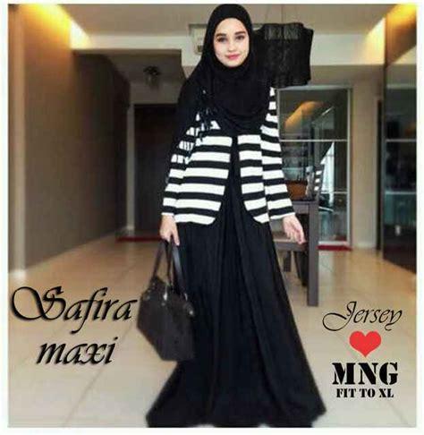 Safira Harajuku 3in1 Set baju gamis remaja safira 3in1 g217 busana muslim modern hitam putih