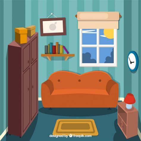 living room cartoon small living room vector free download