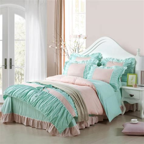 girls full size comforter set tiffany blue and pale pink girls princess themed small