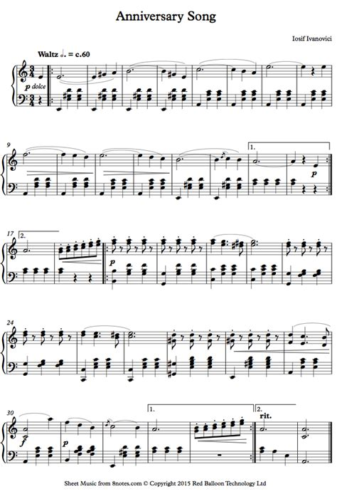 song free ivanovici anniversary song waves of the danube sheet