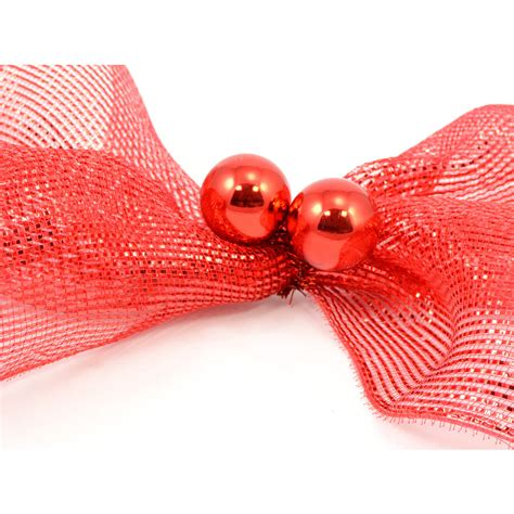 3 quot red tinsel ties w 50mm balls red set of 12