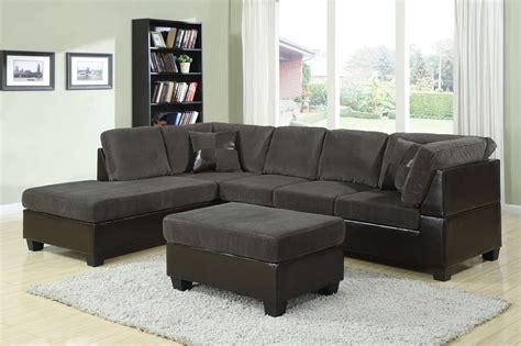 Connell Dark Grey Corduroy Espresso Sectional Sofa Set