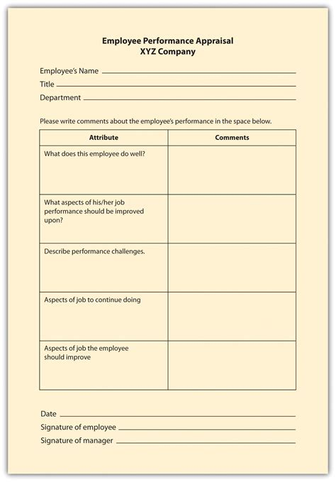 critical evaluation template employee assessment
