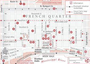 map of new orleans downtown hotels quarter map with attractions new orleans maps