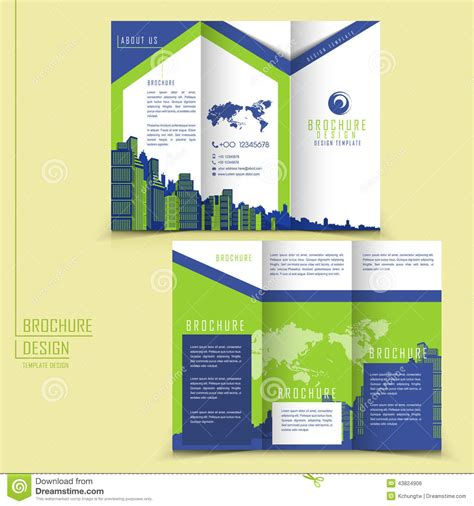 modern style tri fold brochure template for business stock