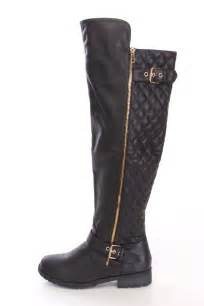 black quilted knee high boots faux leather