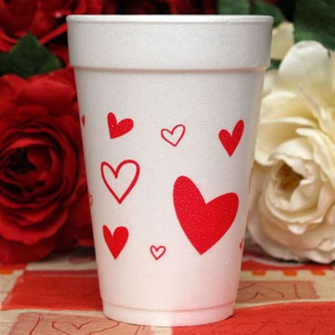 valentines cups valentines scattered hearts foam cups paperstyle