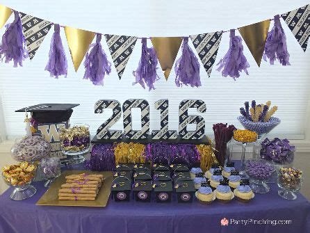 college graduation party college graduation dessert table college grad candy buffet purple