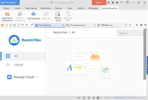 wps office file roaming wps cloud