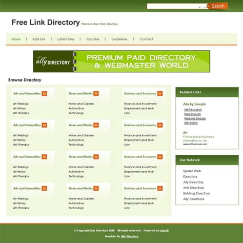 business directory template green free phpld templates
