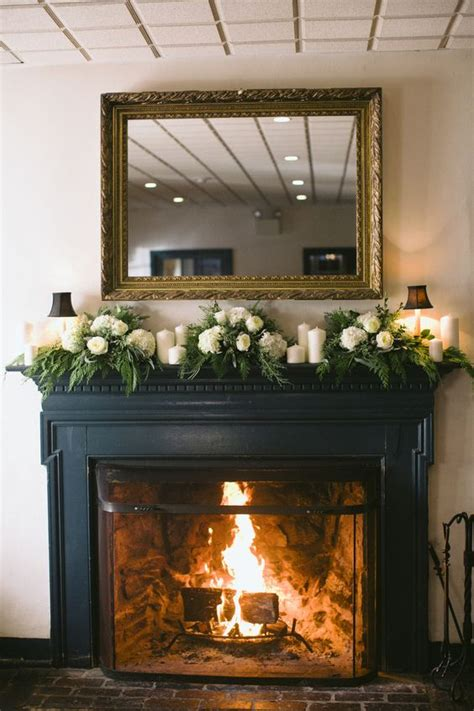 Fireplace Garlands by White And Green Mantel Garland Fireplaces Flower And