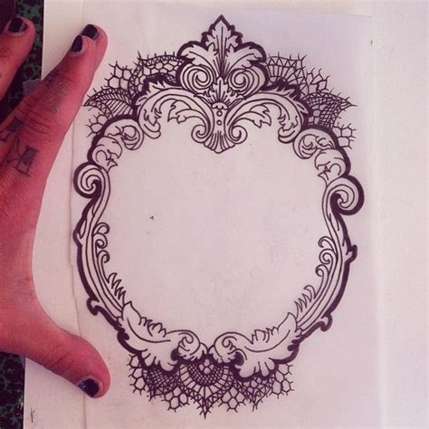 victorian lace tattoo vintage style frame style