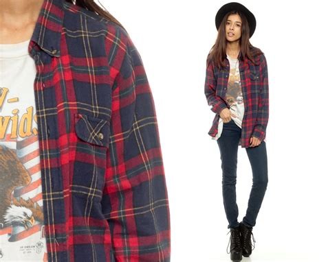 Oversized Flannel oversized flannel shirt 80s plaid shirt navy blue grunge