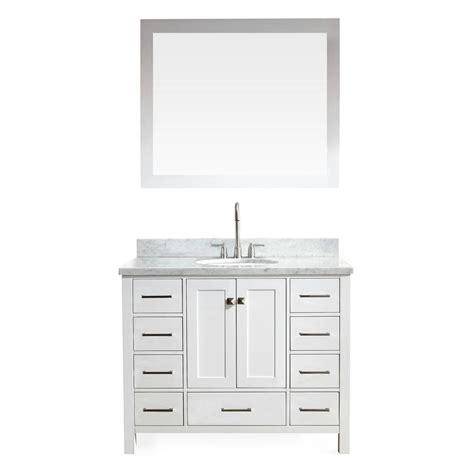 Ariel Vanity by Ariel Cambridge 43 In Vanity In White With Marble Vanity