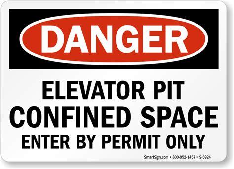 elevator pit signs elevator shaft signs