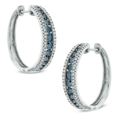 1 ct t w enhanced blue and white hoop earrings
