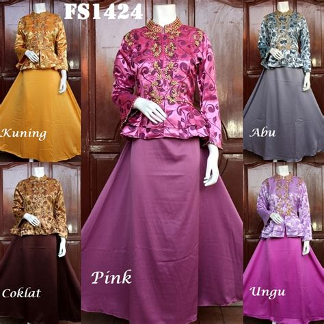 Maxi Dress Muslim Mewah Elegan Bahan Ceruty Warna Dusty Fit Xl fs1424 fika shop